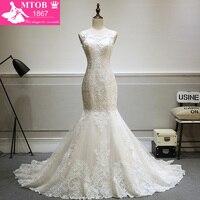 Fashionable Lace Mermaid Wedding Dress 2017 Vestido De Casamento See Through Back Vintage Wedding Gowns MTOB1730