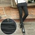 2015 новый Осень Колледж стиль Стрейч клетчатые брюки мужчины повседневная slim fit упругие сетки брюки мужские ноги брюки, 28-34