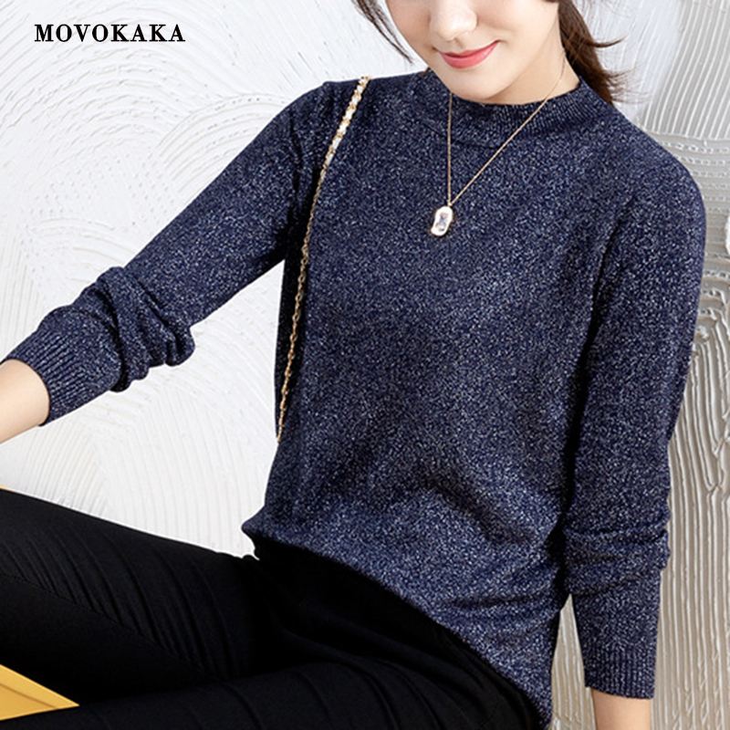 MOVOKAKA Shiny Lurex Sweaters Knitted White Sweater Female Warm Koreant Pull Casual Woman Jumper Sweater Female Winter Pullover
