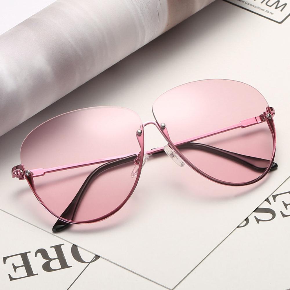 Rimless Cat Eye Women Sunglasses Transparent Fashion Brand Designer Sunglasses Lady Clearly Large Metal Frame UV400 12