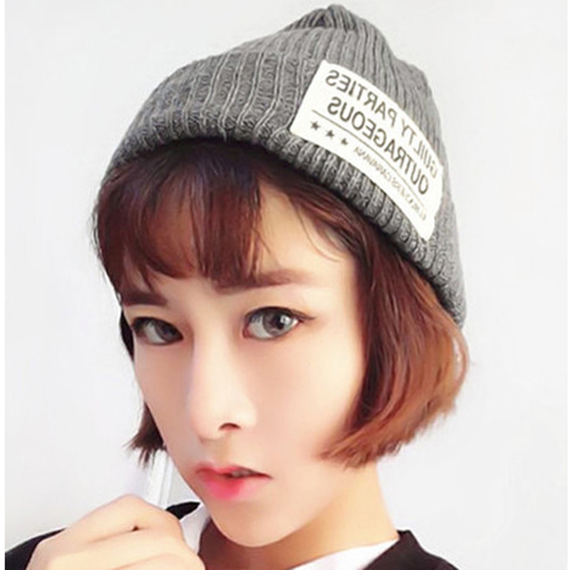 Winter Hat For Women And Men letters Beanies Knitted Warm Hats Causual Wool Caps Skullies fashionable fulled handwritten letters pattern felt bucket hat for men
