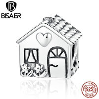 VOROCO Authentic 925 Sterling Silver Love Heart House Charms For Women Children Bracelets Families Gift Fashion
