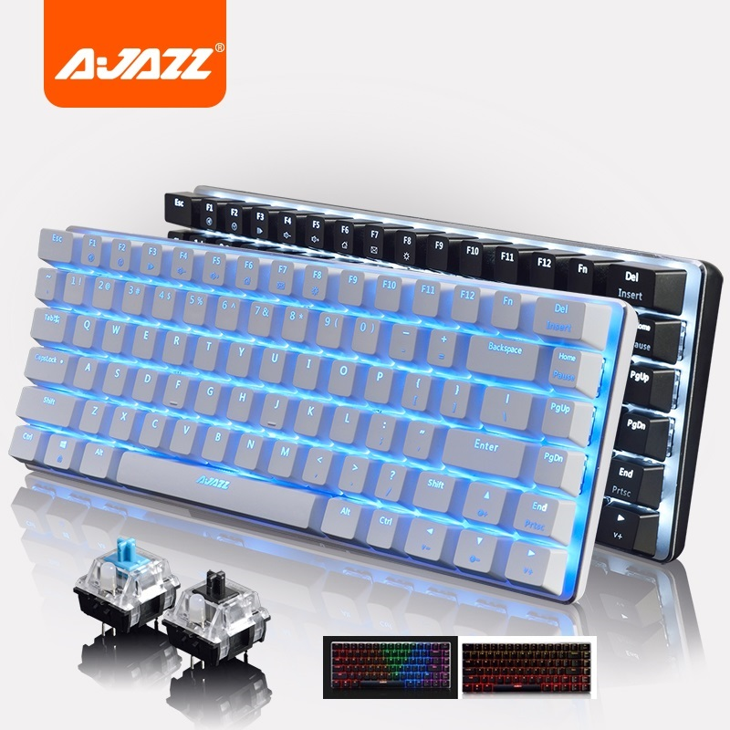 Ajazz AK33  82 Key Alloy Panel USB Wired  Backlight Mechanical Gaming Keyboard Blue/Black Axis With Detachable Cable
