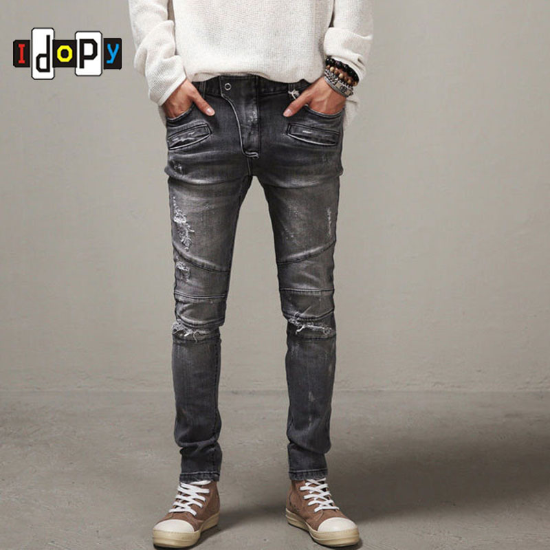 Men`s Slim Fit Skinny Biker Jeans Distressed Hiphop Ripped Washed Streetwear Denim Pants With Holes For Men new arrival sf800 sb 8ch 2 4g receiver compatible with futaba s fhss t4yf t6j t6k t10j t14sg t18mz t18sz
