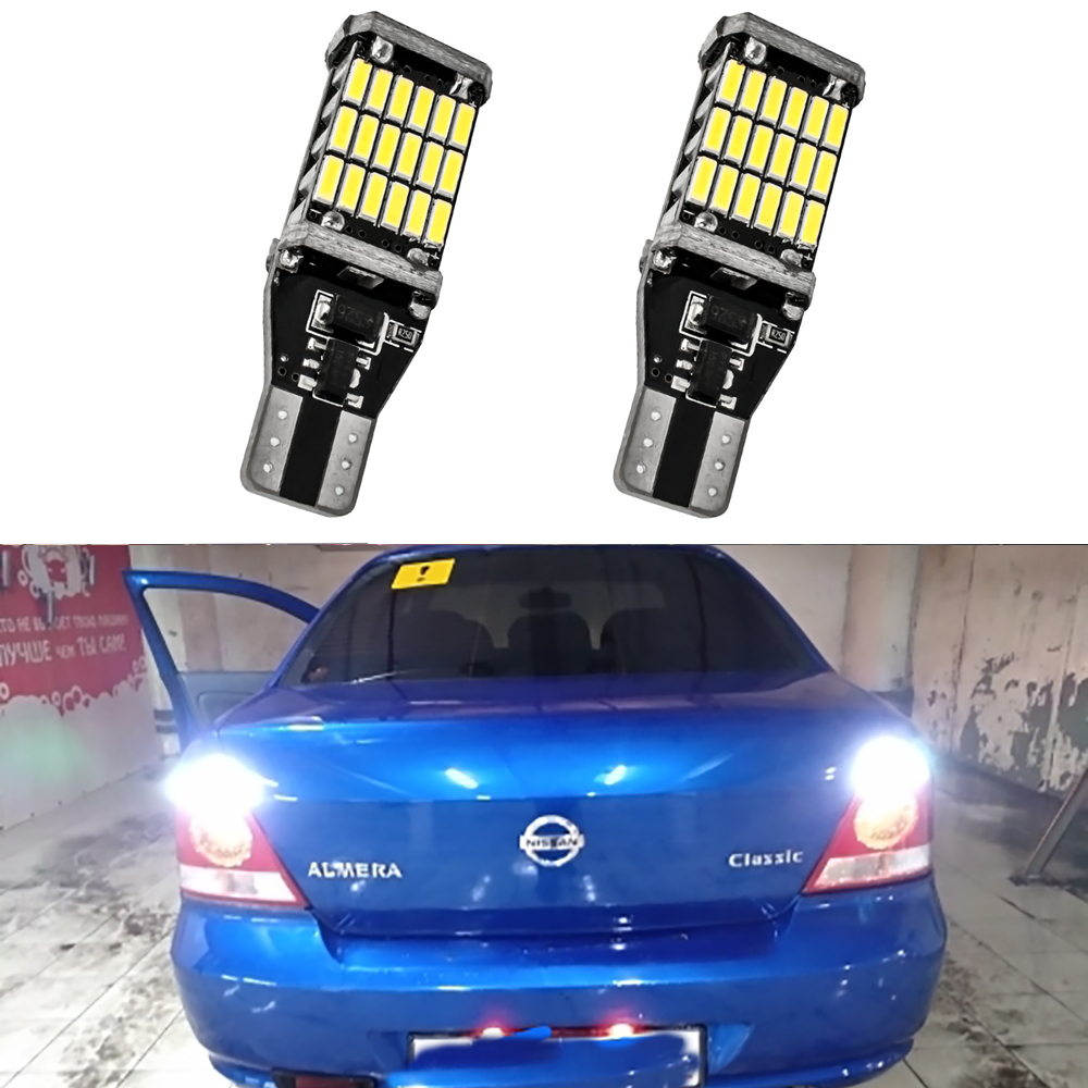 2x T15 W16W LED Bulb Canbus Car Backup Reverse Lights For Nissan Altima Pathfinder R51 Juke Almera Note No Error Tail Lamp White