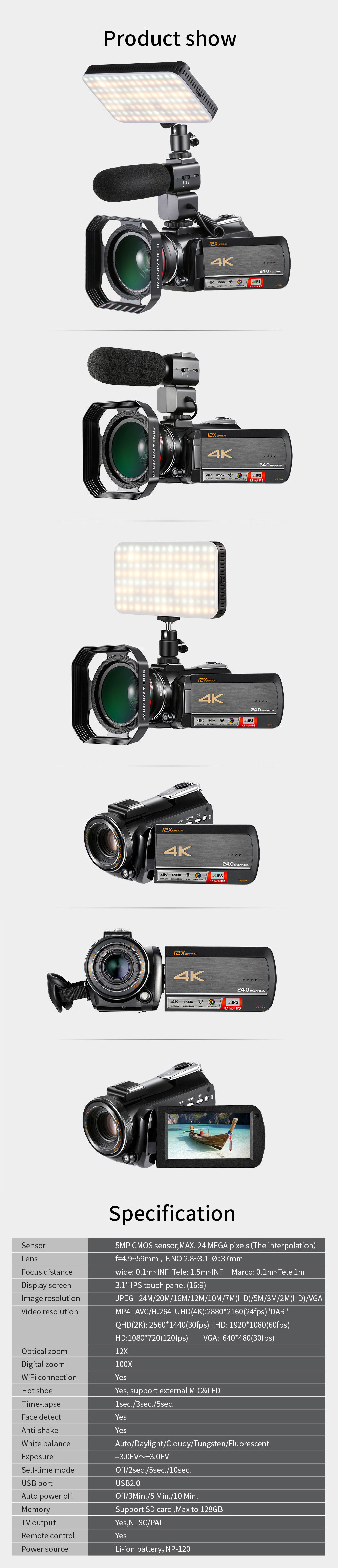 4k WIFI Digital Video Camcorder with 3.0'' Touch Display/12 x Optical Zoom Professional Home Use Digital Camcorder 10