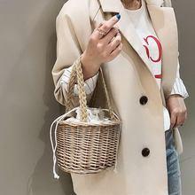 Gorący sprzedawanie kobiet tkane słomy Torebka damska typu bucket pani lato plaża Mini torby-B5 tanie tanio HOBBAGGO Circular Wristlets Ciąg HARD NONE Moda Poliester Wszechstronny WOMEN Stałe Brak Kieszeni Torebki