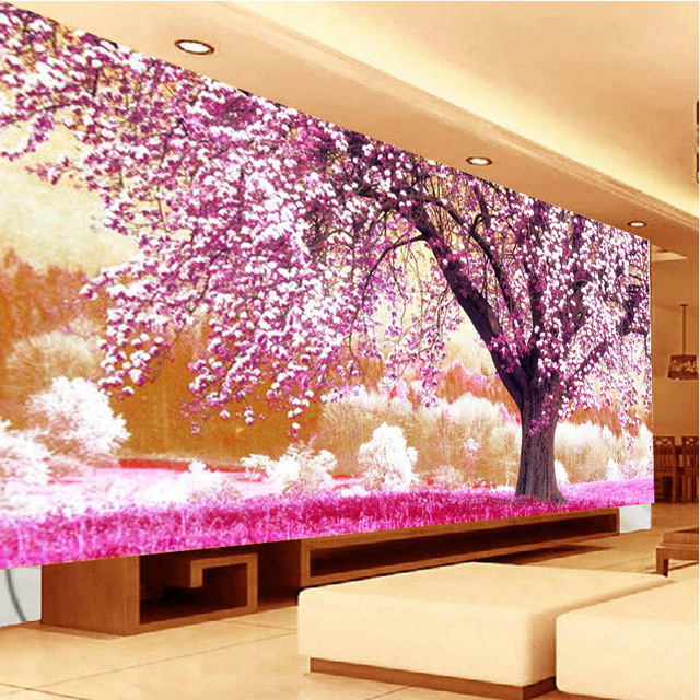5D DIY Full Drill Diamond Painting Cherry Tree Plant Printed Cross ...