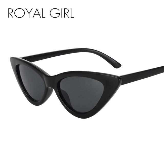 9ac11104da452 ROYAL GIRL Vintage Cat Eye Sunglasses Women Black Red Acetate Frame Eyewear  Men Gray Brown Lens Shades Unisex Oculos ss388
