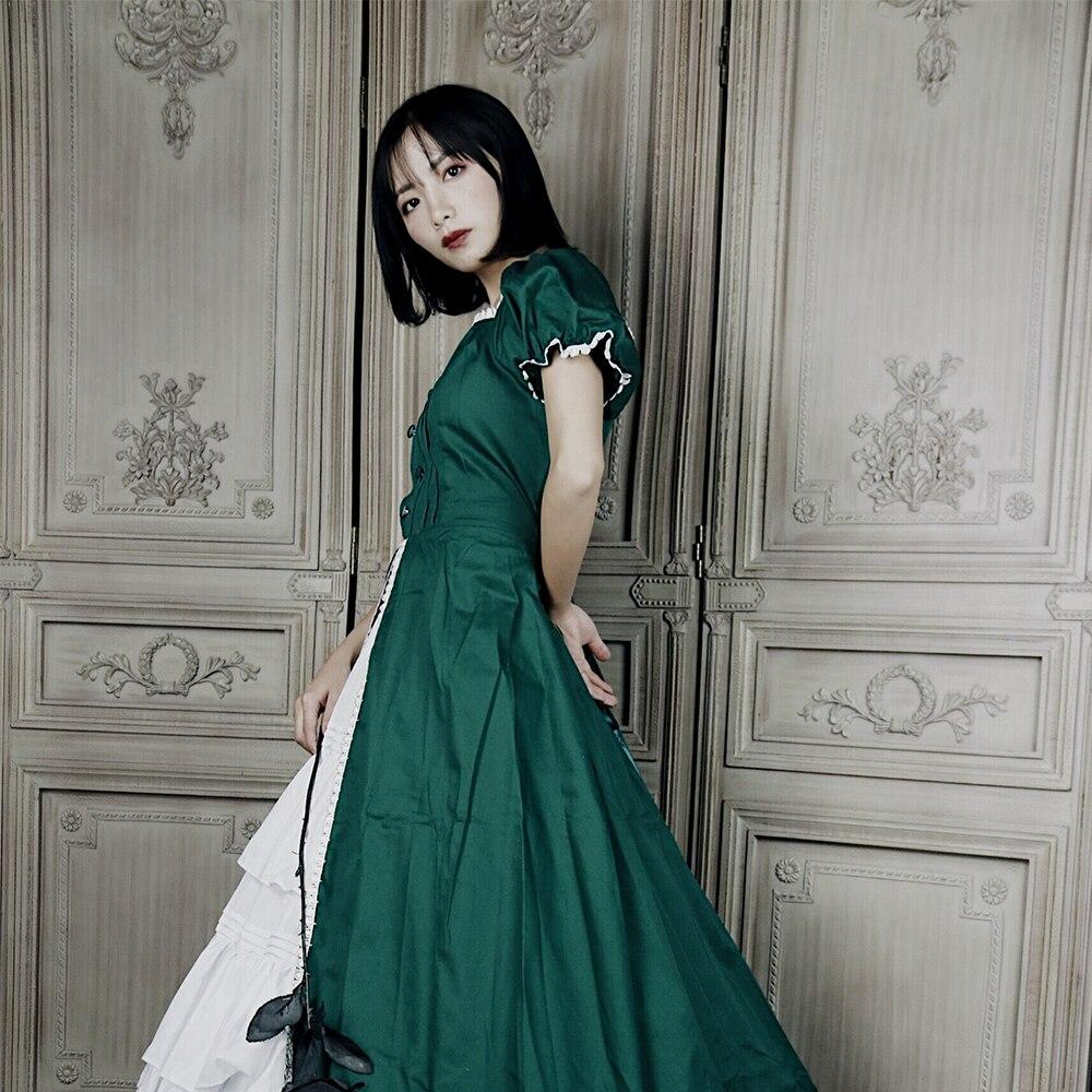 Victorien gothique femmes vert dentelle robe de soirée Cocktail Lolita princesse bulle jupe à manches courtes Maxi robe robe de bal - 4