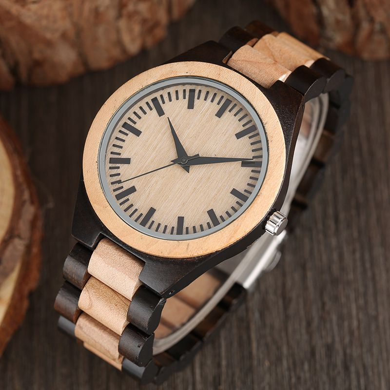 Hot Men Wrist Watch Nature Wood Fashion Bamboo Handmade Full Wooden Band Fold Clasp Simple Quartz 2018 New Arrival Women Analog fashion men bamboo wood quartz analog watch with genuine leather for men nature zebra stripe unique watch relogio clock gifts