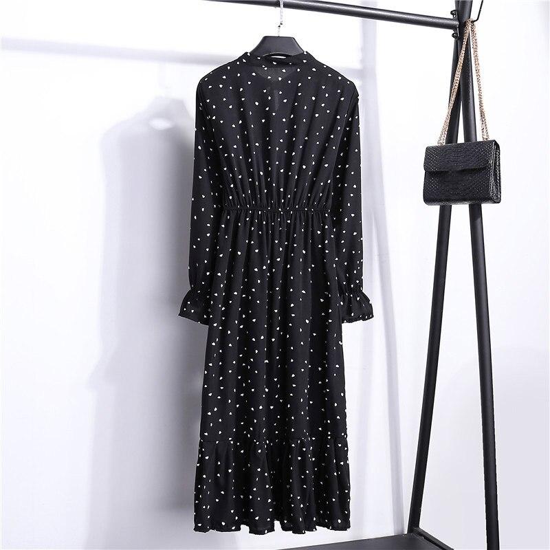 Summer Korean Chiffon Women Dress Elegant Ladies Vintage Long Dress Boho Floral Office Long Sleeve Vestidos Clothing 5LYQ003 59