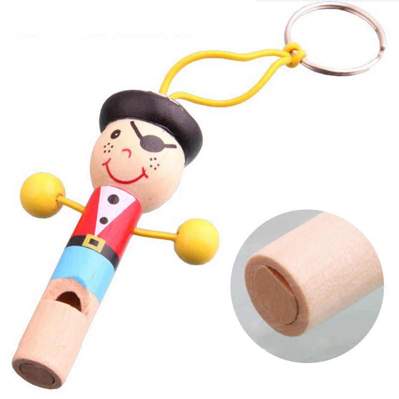 Mini Apito De Madeira Do Pirata Musical Chaveiro Boneca Bonito Colorido Educacional Developmental Bom Presente Brinquedos Engraçados Para O Bebê