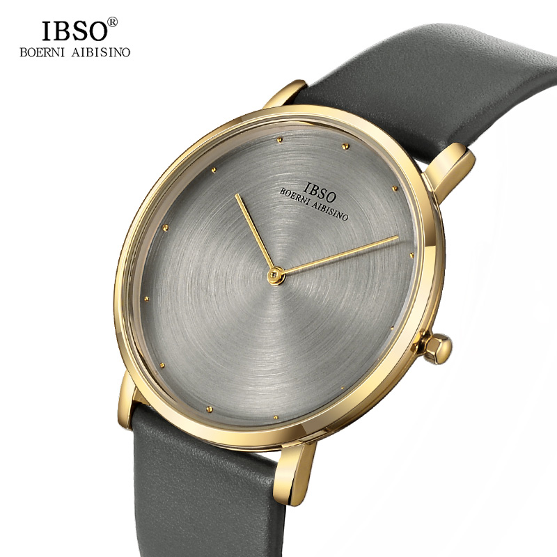 IBSO Gray Quartz Watch Men 7MM Ultra-thin Mens Watches 2018 Exquisite Design Dial Genuine Leather Strap Fashion Male Clock ibso genuine leather strap 2017 mens watches top brand luxury 7 6mm ultra thin dial watch men quartz wristwatches male clock