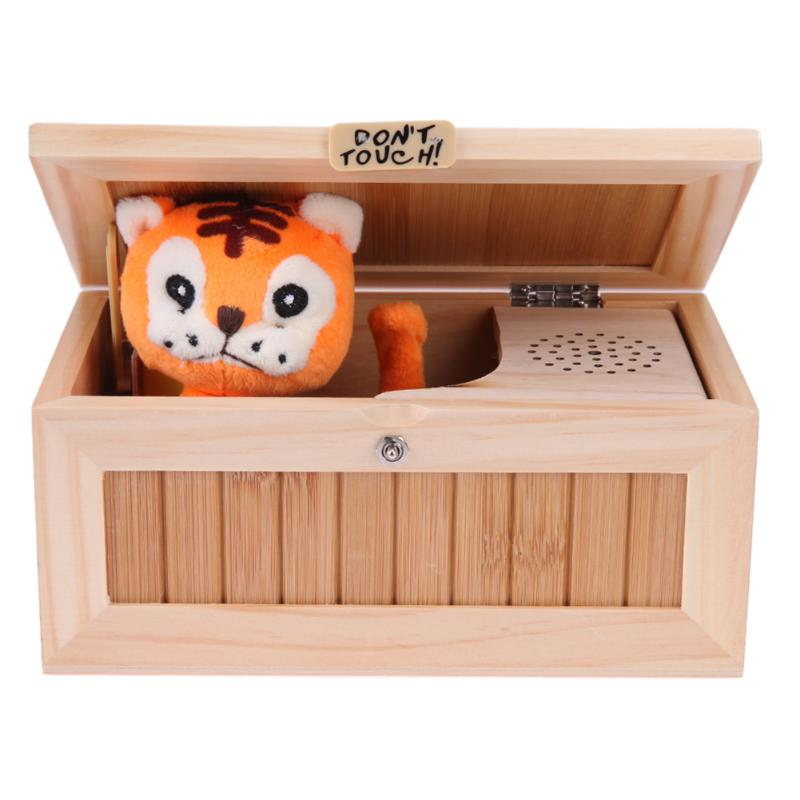Electronic Wood Useless Box Lovely Tiger Touch Hide Roar Sound 20 Modes Funny Desktop Toy Kids Adults Stress-Reduction Toy цена 2017