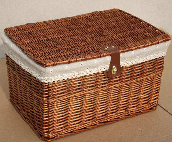 Rattan Willow Set Storage Basket Lid Large Storage Box Storage Basket  Storage Baskets Basket Customize