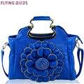 Flying birds 2016 Designer women handbag 3D flower,high quality PU leather tote bag female large shoulder messenger bag LM3514fb
