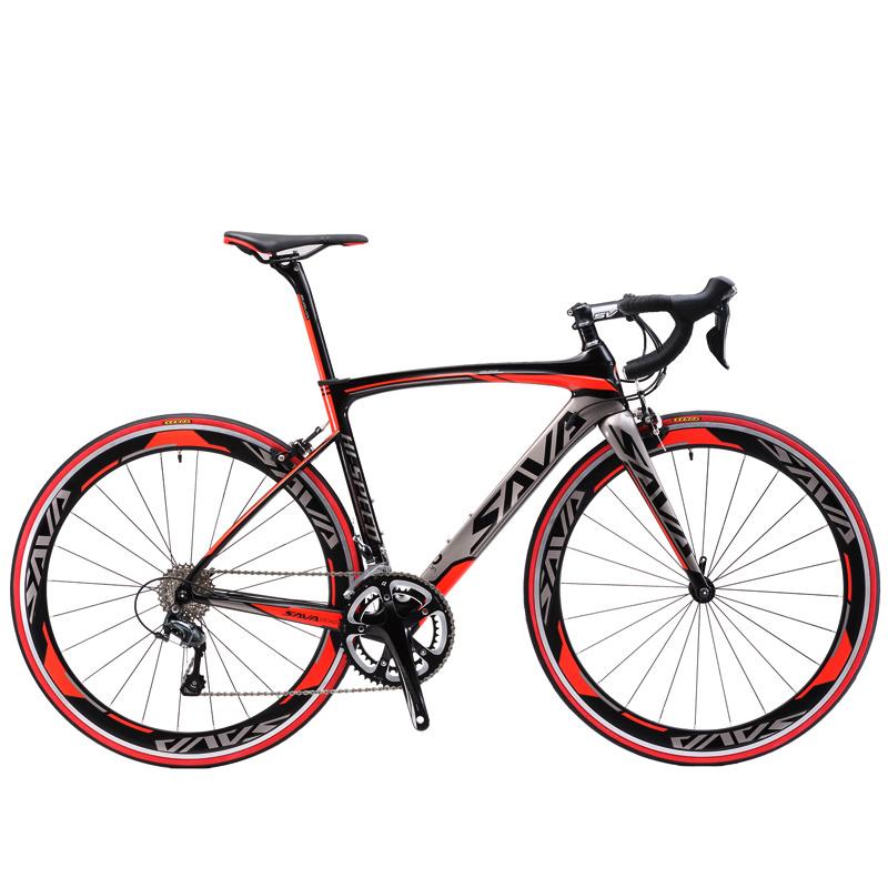 Prix pour SAVA 700C Fiber De Carbone Vélo De Route Vélo Complet Carbone Vélo BICICLETTA Route Vélo SHIMANO SORA M3000 18 Vitesse Bicicleta