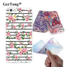 Gertong Soft TPU Printing Case For iPhone 6 7 Plus 6S 5S SE 5 S Rose Flower Leaves Fox Pattern Covers Phone Bags Cases Shell