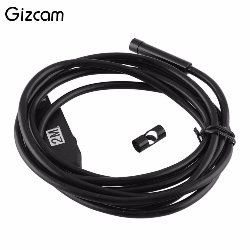 Gizcam 7mm 6 LEDS 2M USB 2.0 Waterproof IP67 Endoscope Borescope Tube Snake Camera Lens 640*480 30 ftps For PC