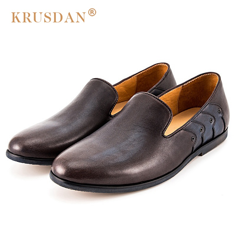 KRUSDAN Fashion Studded Man Casual Shoes Genuine Leather Handmade Outdoor Loafers Round Toe Slip on Men's Business Flats new arrival luxury man casual shoes genuine leather cow comfortable loafers round toe designer brand men s business flats gd20
