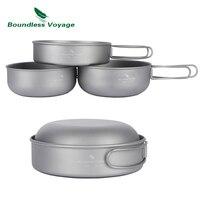 Boundless Voyage 3PCS Titanium Bowl Set Outdoor Picnic Cookware Camping Ultralight Cooking Pan Ti1571B Ti1572B