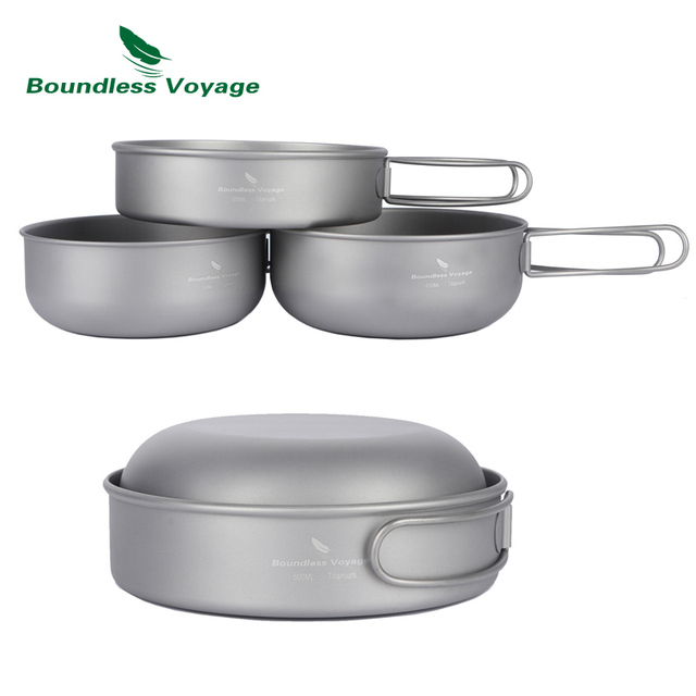 Boundless Voyage 3 pieces Titanium Bowl Sets Outdoor Picnic Cookware Camping Ultralight Cooking Pan with Folding Handle