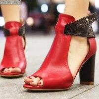 Весенние женские сандалии, женская обувь, повседневные сандалии-гладиаторы с открытым носком, на нескользящей подошве, на молнии, на средне...