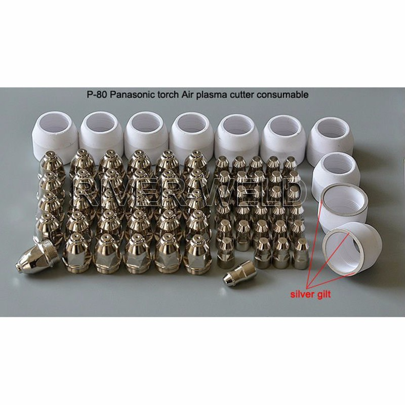 New Arrival high grade P80 Panasonic Air Plasma Cutting Cutter Torch Consumables Plasma TIPS Nozzles 60