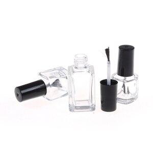 Image 4 - 1pc 5 ml/10 ml/15 ml שקוף זכוכית לק בקבוק ריק עם מכסה מברשת קוסמטי מכולות נייל בקבוקי זכוכית עם מברשת