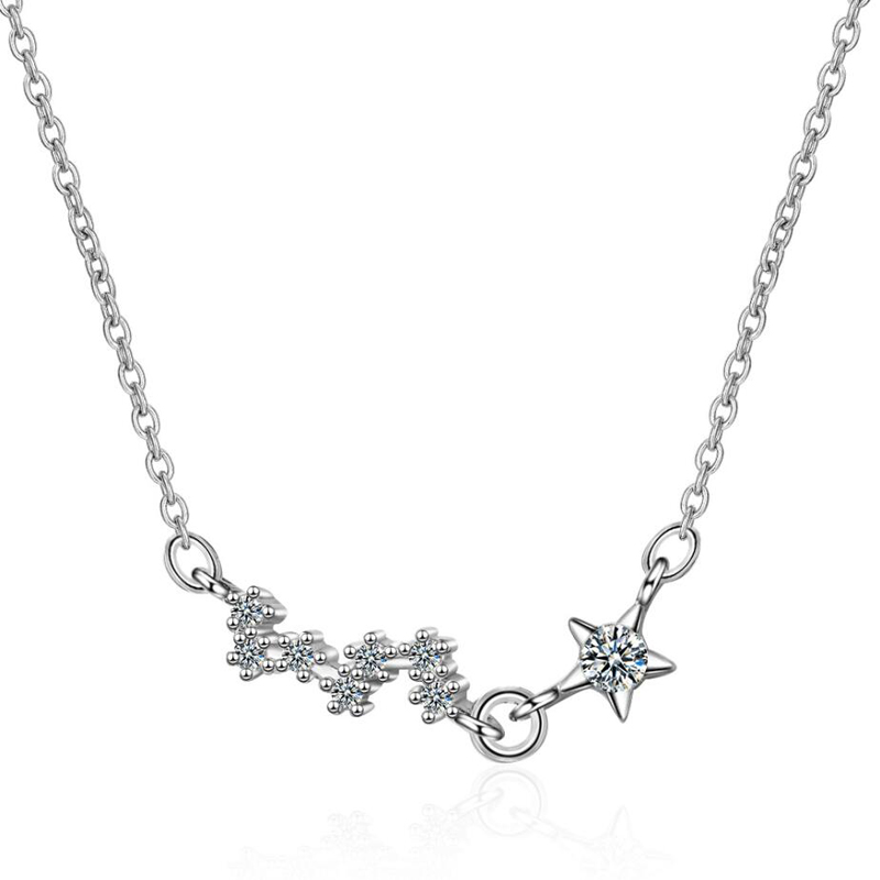RONERAI Shining Charm Zircon Stars Necklaces For Women Jewelry Hot Trendy 925 Sterling Silver Female Valentine's Day Accessories