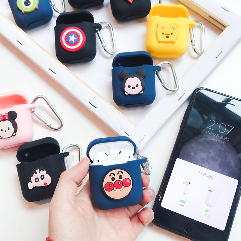 Bluetooth Wireless Earphone Case For Apple AirPods Silicone Charging Headphones Cases For Airpods Protective Cover with Hooks