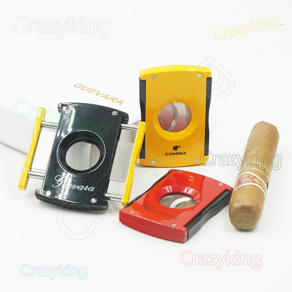 Cohiba Yellow High Tech Stainless Steel Track Slide Cigar Cutter Free Shipping