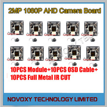DIY AHD 10PCS/LOT 2MP 1080P IMX 323 CMOS+2441H DSP CCTV PCB Board With OSD Cable  Metal IR CUT LENS  Camera Module Free Shipping