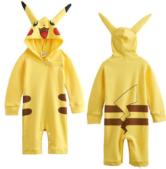 Baby Girls Pikachu Romper Funny Costume Playsuit Jumpsuits with Hat Cute Cosplay