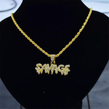 Men's Necklace Hip Hop Choker European and American Pendientes Full Letters SAVADF Pendant Necklaces Flawless Ornaments Torque(China)