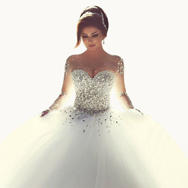 f8458e468c Suknia ślubna Kryształ Gorset Suknia Balowa Vestidos De Noiva Paciorkami  Sweetheart Suknie Bride Suknie Macji Tulle
