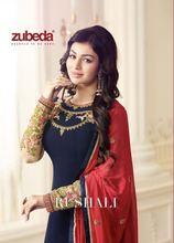 a7efafcd45a2e ZUBEDA Hint Pakistan Elbise Kadın Churidar Salwar Kameez Tasarımcı Çiçek  Nakış Dikişli Takım Bollywood Etnik Parti