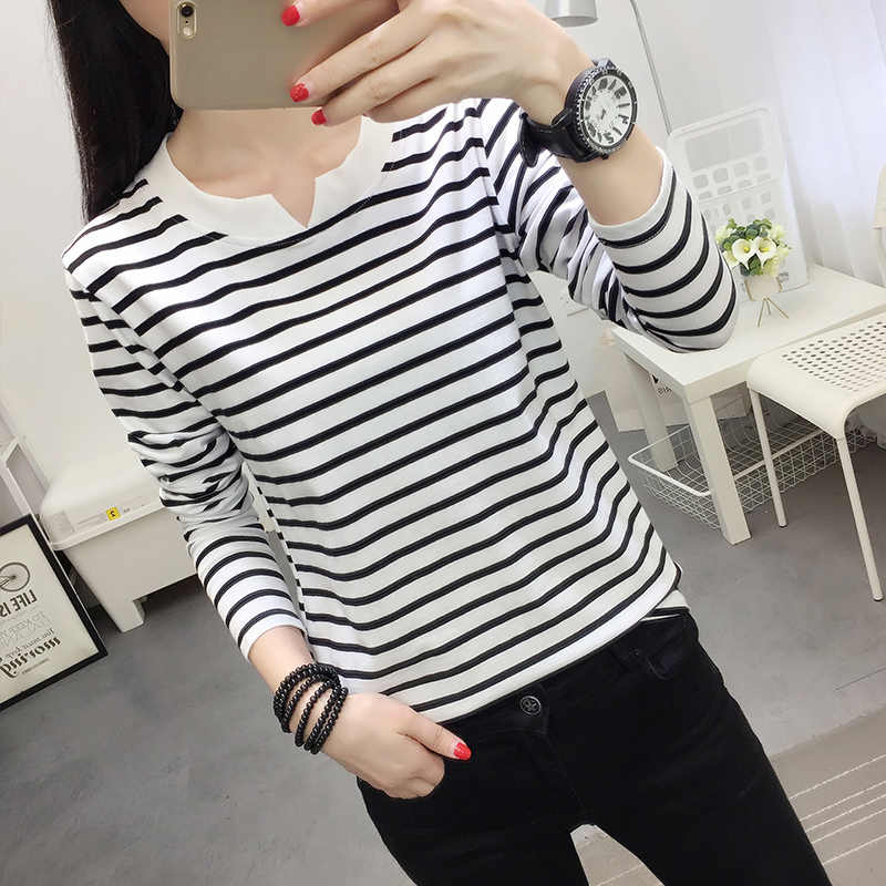 Женская футболка больших размеров, осень 2018, корейские новые Топы в полоску с v-образным вырезом, плюс размер 4XL 5XL, повседневная женская хлопковая рубашка с длинными рукавами