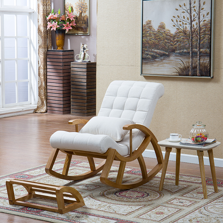 Wood Rocking Chair Glider Rocker And Ottoman Set Living Room Furniture Cushioned Luxury Comfortable Nursery Rocking Chair Seat