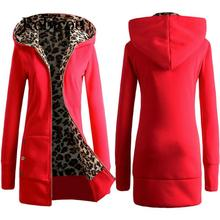 2019 Autumn Winter Warm Hoodies Zipper Leopard Print Thick Fleece Hoodie Thicken Comfortable and Loose Clothing