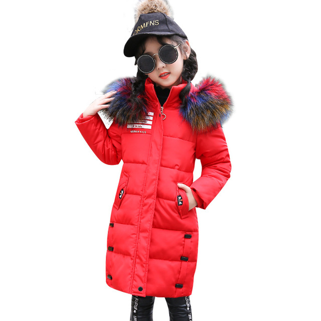 7994d6bc8886 Girls Winter Coats Jackets 2018 New Warm Cotton Outerwear Long Padded  Jackets Fashion Park For Baby Girls Clothes Child Coat