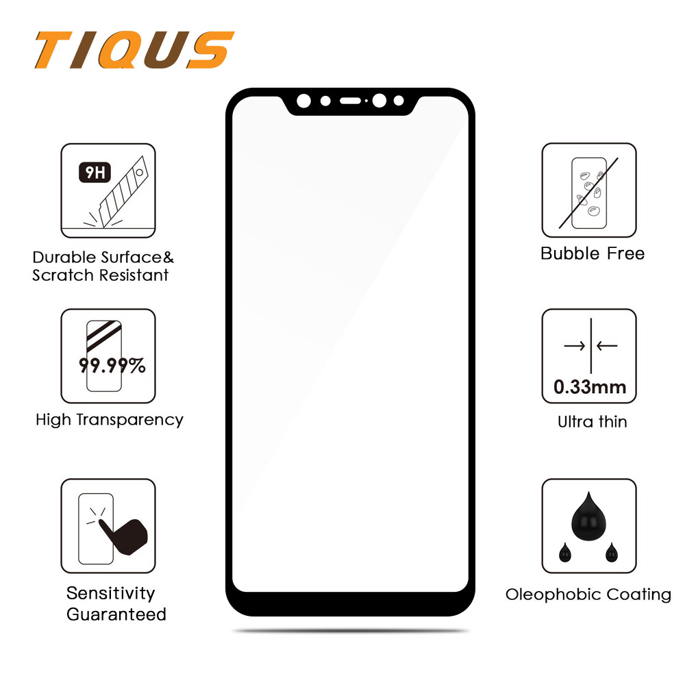 TIQUS Full Cover Screen protector For Xiaomi Mi 8 Tempered Glass Protective film Explosion proof Screen For Xiaomi Mi8 2 PCS in Phone Screen Protectors from Cellphones Telecommunications