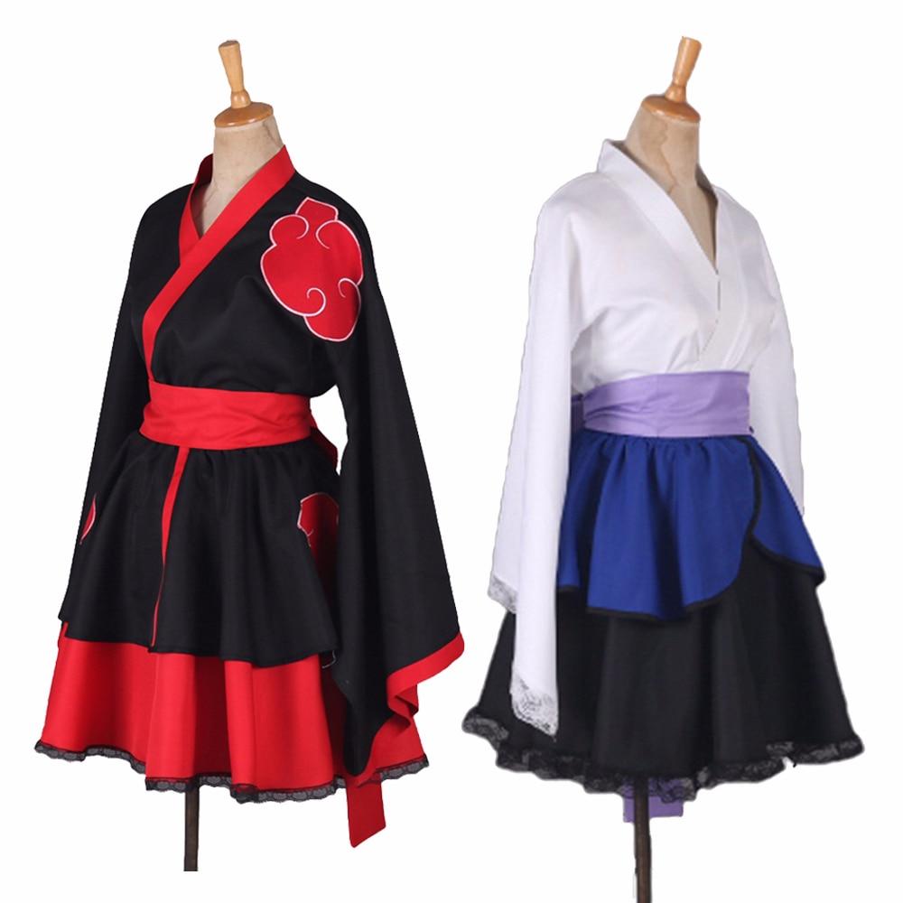 6 estilos anime naruto lolita vestido feminino naruto cosplay traje akatsuki kimono vestido de empregada doméstica uchiha sasuke lolita roupas terno      -