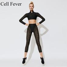 2 Pcs Yoga Set Women Sport Suit Gym Workout Clothes Long Sleeve Fitness Crop Top Scrunch Leggings Female Lace Leopard Sportswear lace panel scrunch long sleeve top