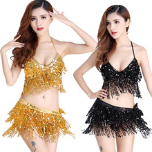 Professional Belly Dance Costume 2pcs Bra+ Hip Scarf Sequined Performance Outfits Bollywood Indian Dancer Egypt Costume Suit(China)