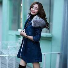 Winter Coat Women Big Faux Fur Hooded Thick Warm Outwear Fashion Casual Denim Jackets Cotton Padded Jeans Parkas Plus Size A3874