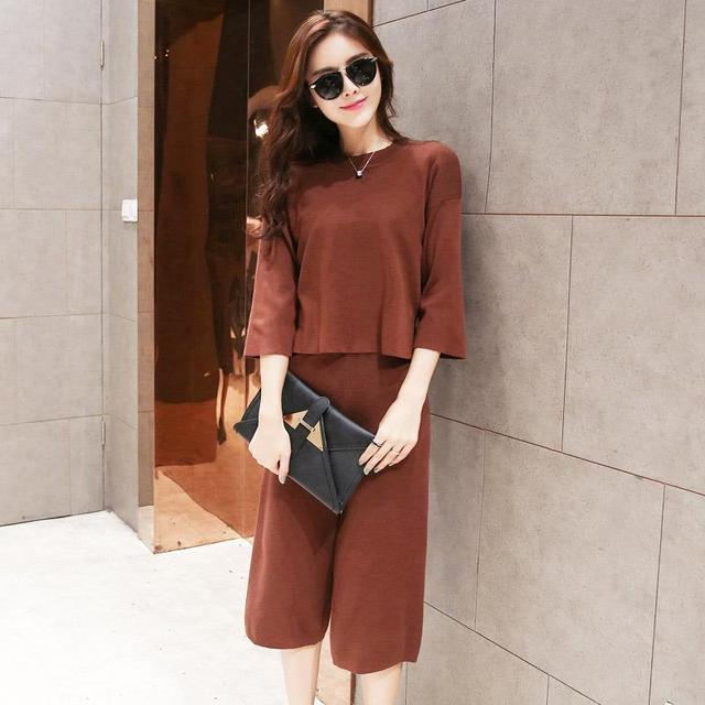 Hot Sale 2 Piece Set Women 2016 Europe Casual O-Neck Women Suits Fashion 3/4 Sleeve Slim Knitted Sweaters+Wide Leg Pants 7