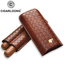 COHIBA cigar case holds 2 cigars travel portable humidor leather CD-1016
