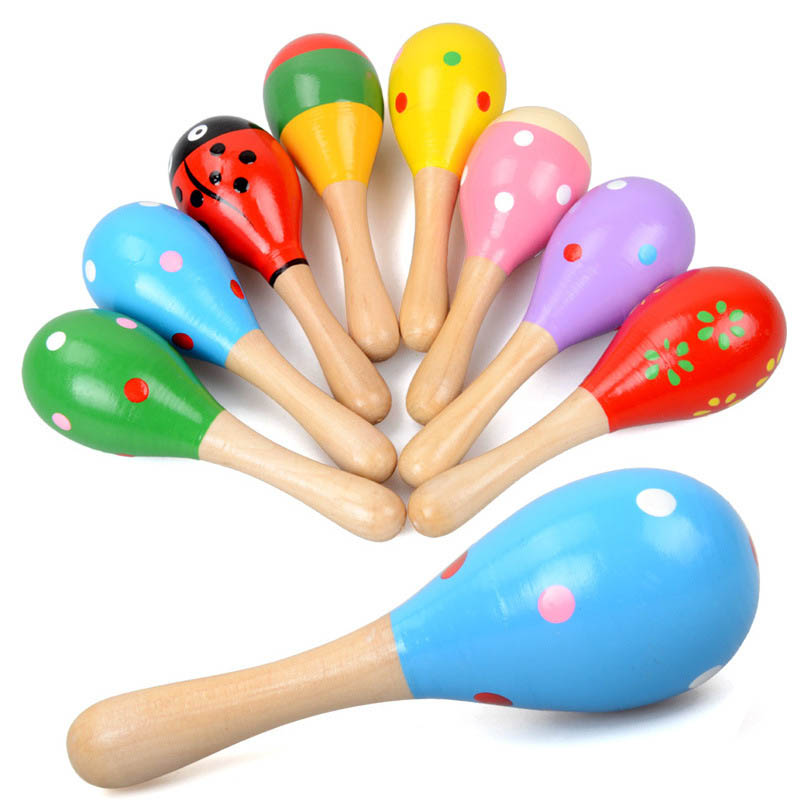 1 Pcs Colorful Wooden Cartoon Maracas Toys Orff Musical Instruments Wood Sand Hammer Exercise Auditory Bell for Baby Children
